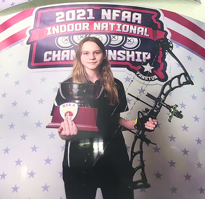 Delilah Renner, age 11, Adams, is the 2021 NFAA Indoor National Champion in the Bowhunter Freestyle Cub Female Division.  The National Field...