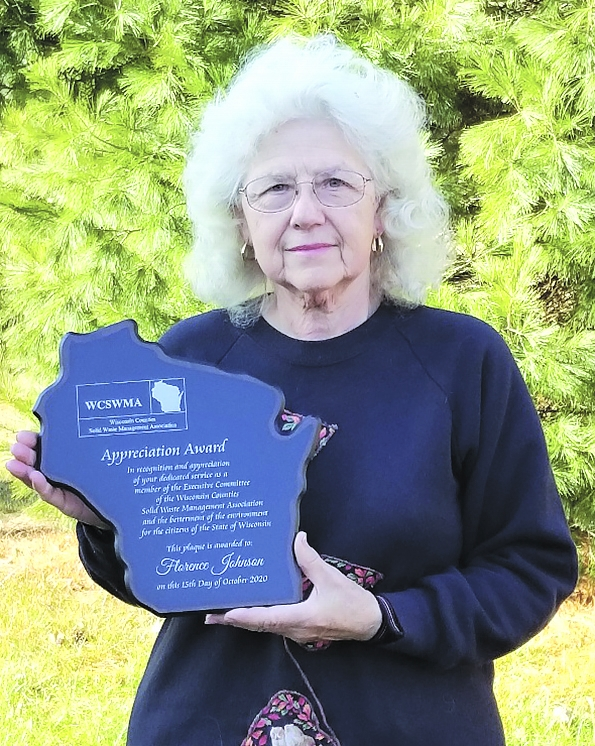 Recently, Florence Johnson, of the Town of Lincoln, was honored for her years of service to the Wisconsin Counties Solid Waste Management Association...